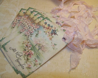 All Occasion Tags - Bird Tags - Pink Flower Tags - Vintage Shabby Cottage Chic - Set of 6