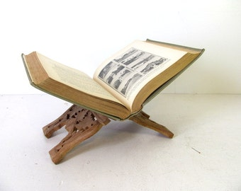 carved vintage wooden book stand display Book Pedestal CookBook Stand Bible Display Folk Art Carving Shelf