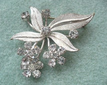 Vintage Unique Rhinestone and Silvertone Austrian Flower Leaf Brooch, Austria Jewelry, Vintage Jewelry, Antique Brooch, European Jewelry