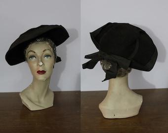 vintage 40s hat / 1940s Brown Wide Brim Hat / 40s Tilt Hat