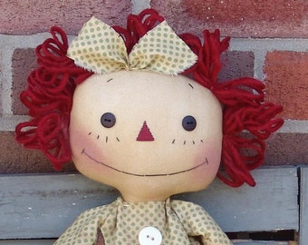 Primitive Raggedy Ann Doll With Daisy pattern, raggedy doll, cloth doll pattern, daisy pattern, HFTH158