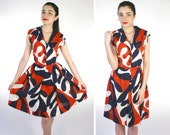 Vintage 50's 60's Red/White/Blue Mod Pop Art Day Dress M medium July 4th Fourth Pin Up