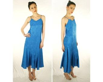 Vintage Mermaid Tail Dress Blue Jacquard Paisley 70's 80's Jodi Schwartz for Bill Berman S M