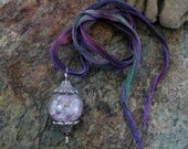 Amethyst and Flourite filled Blown Glass Necklace
