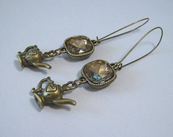 SALE - Amber Glass Gems and Teapot Earrings - Antique Brass (E-419)