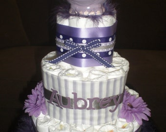 Purple Hippo Diaper Cake Baby Shower Centerpiece  other styles and colors available