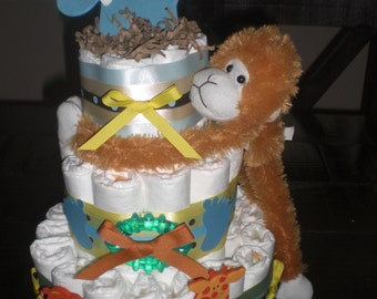 Elephant Monkey Diaper Cake Jungle Theme Baby Shower Centerpiece or gift elephant available and other ribbon colors too