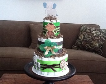 Green and Brown Safari Jungle Theme Diaper Cake Baby Shower Centerpiece  READY TO SHIP other colors and sizes too