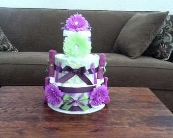 Purple and Green Diaper Cake Baby Shower Centerpiece Girl Baby Shower other colors and sizes too