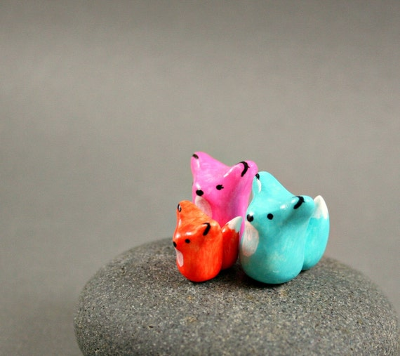 Little Fox Family - Hand Sculpted Miniature Polymer Clay Animal