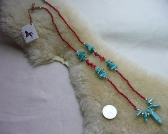 Southwestern Turquoise and Coral Necklace