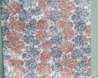Vintage Fabric Floral Cotton 1940s 1950s Grey Brown Flowers White Background 40s 50s - 2 1/2 yards - over 2 meters -  new old stock unused