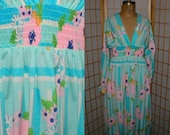 Vintage 70s pastel knit floral print dress womens size medium by Oscar de la Renta