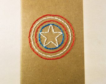 Captain America Hand Embroidered Moleskine Notebook