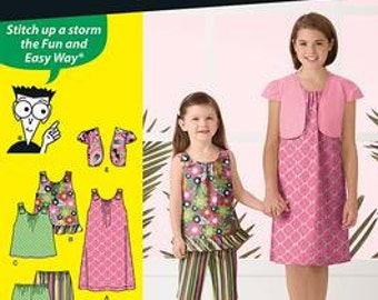 GIRLS CLOTHES PATTERN / Sale / Make Summer Dress - Bolero - Top  - Capri Pants / Sizes 3 to 6 / Easy To Do