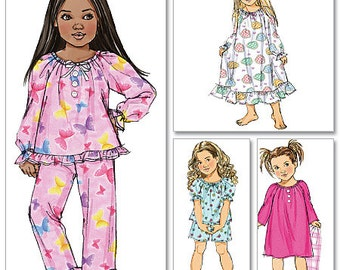 GIRLS SLEEPWEAR PATTERN / Make Child Pajamas - Pjs or Nightgown - Nightie / Sizes 2 to 5 Or 6 to 8