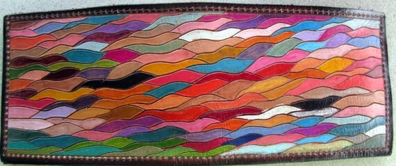 Custom Order for Joanne Guidry Single Fold Wallet with Hand Carved Colorful Waves Design Made in GA USA