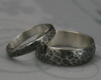 Hammered Bands--Matching Sterling Silver Wedding Ring Set--Oxidized and Brushed--Rustic Wedding Bands