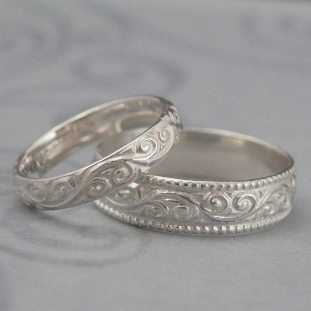flourish wide wedding band setsterling silver swirl