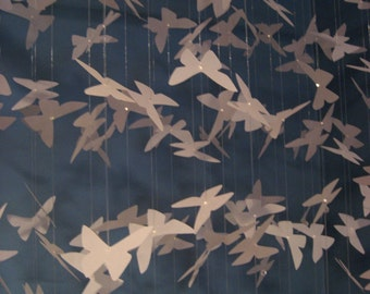 Paper Mobile with Long Rectangular Base Featuring Butterflies - XLARGE