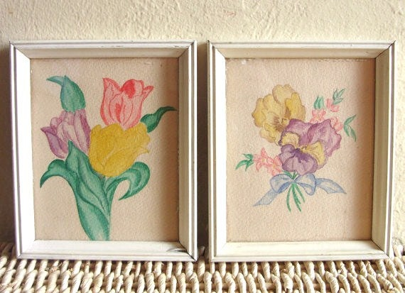 SALE Two Chippy Painted Picture Frames with Floral Paintings 2