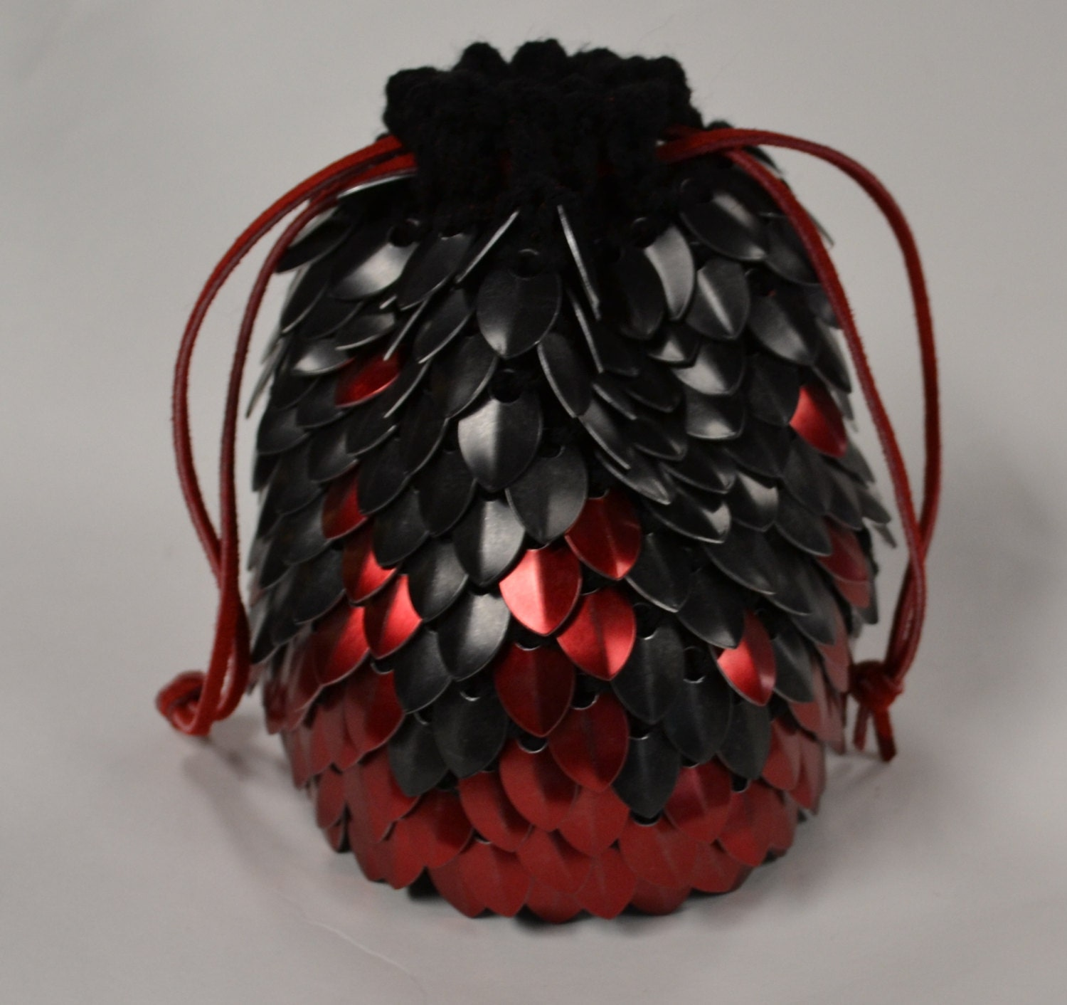 Dragon Dice Bag Crochet Pattern : Scalemail Dice Bag of Holding Knitted Dragonhide Red Fire