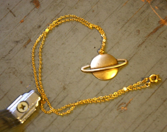 Vintage 70s Saturn Brass Planet Pendant Necklace