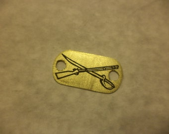 crossed weapons Zombie Response etched brass shoelace tag