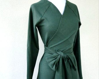 Organic wrap shirt, wraparound organic cotton tunic, handmade organic clothing