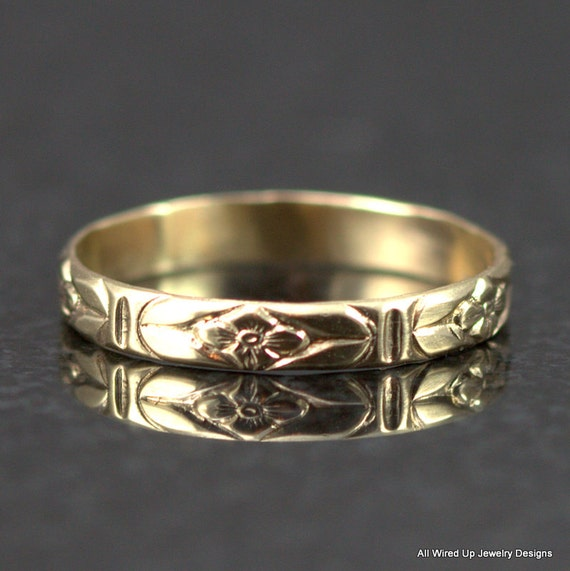 14k gold flower pattern band flower pattern wedding by ppennee