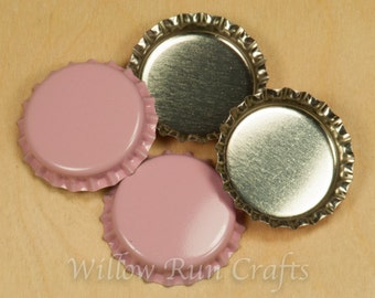100 Pink Silver Bottle Caps  (03-02-120)