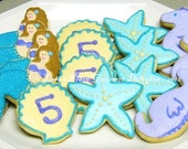 Mermaid Birthday Party Cookies - 16 Cookies