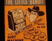1950s Miniature Game Little Bandit Slot Machine with Cowboy on Box