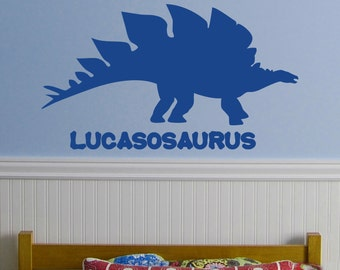 Large Custom Dinosaur Name, Stegosaurus 22x36 inches Vinyl Wall Decal Custom