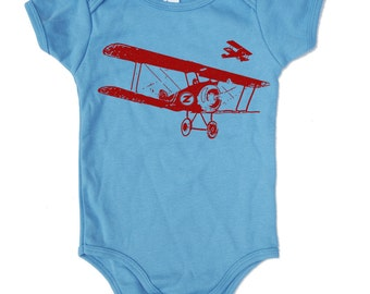 Baby One-Piece Vintage PLANES  -  american apparel Organic Natural - FREE Shipping