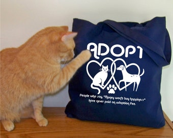 Canvas Tote bag, Adopt, gift for mom, Cotton Canvas tote, quote tote, cats, dogs, animal rescue, pet lovers, adopt don't shop