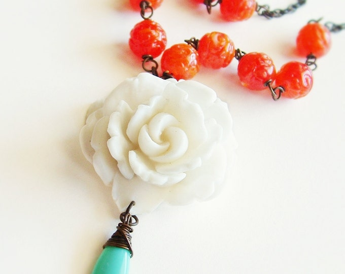 Floral Statement Necklace Large Vintage Carved White Rose Pendant Necklace Orange Beaded Wedding Jewelry Bridal Statement Necklace Tangerine