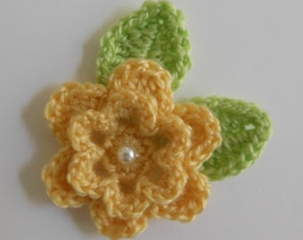 Yellow Crocheted Flower with Leaves - Yellow and Green - Acrylic Yarn - Crocheted Flower and Leaf Appliques - Crocheted Embellishments