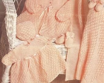 "PDF Knitting Pattern Baby Knitted Layette Set Blanket, Coat, Dress, Bonnet, Bootees 18"" (D263)"