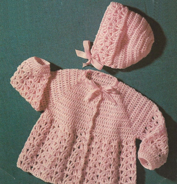 PDF Crochet Pattern Baby Matinee Coat and Bonnet to fit size