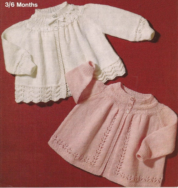 PDF Knitting Pattern Baby Matinee Coat Jacket Cardigan to fit