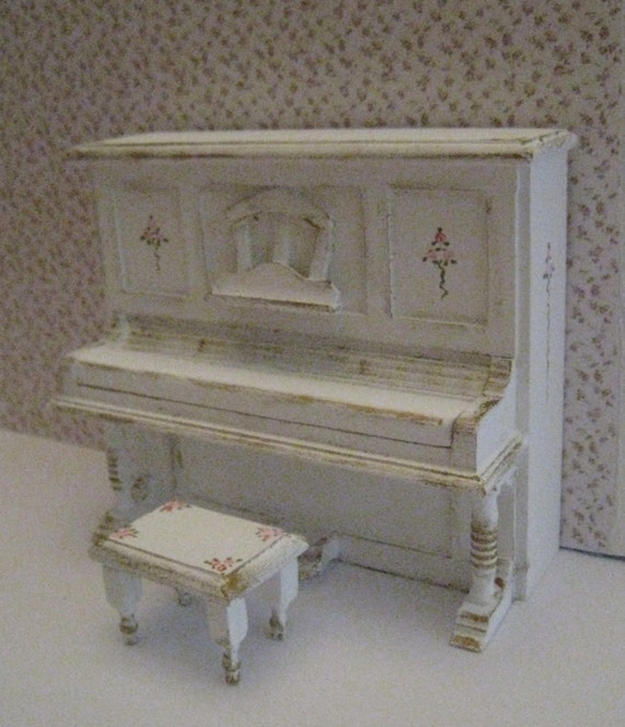 piano and stool shabby chic white dollhouse by. Black Bedroom Furniture Sets. Home Design Ideas