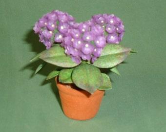 dollhouse scale hydrangea plant (mauve)