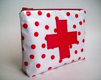 "Red Cross  Medicine Pouch / First aid kit 7"" x 5"" x 2""  white and red polka dot"