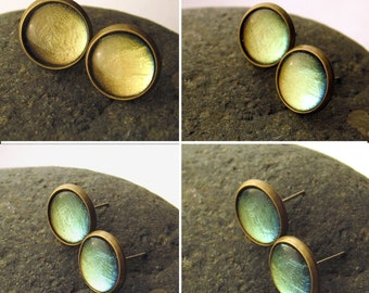 Blue Green Gold Color Shifting Post Earrings Color Changing Antiqued Brass Stud Earrings Hypoallergenic