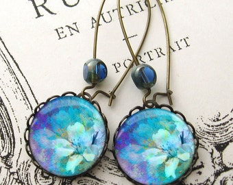 Monet Colors Spring Flowers Drop Earrings Antiqued Brass Blue Purple