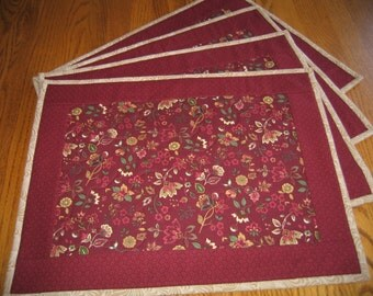Quilted Placemats in Maroon Paisley - Set of 4