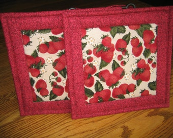 Quilted Pot Holders in a Strawberry Pattern  - Set of 2