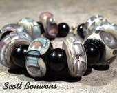 Set of 9 Large Hole Lampwork Galaxy Beads with 10 Small Hole Black Spacers by Scott Bouwens of Bearfoot Art Glass