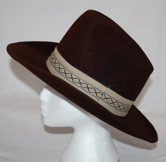 Vintage Cowboy Hat Brown Wool With Band By Ilovevintagestuff